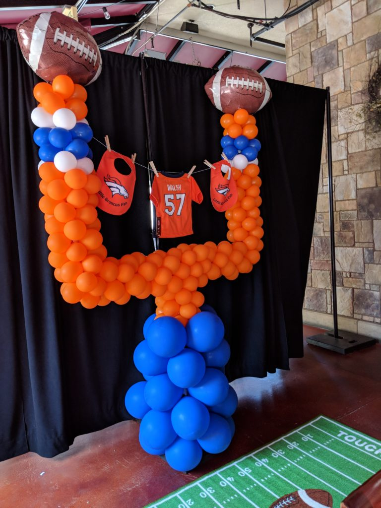 Bronco's Goalpost for a baby a shower